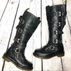 Dr. Martens Phina Leather Strappy Motorcycle Boots